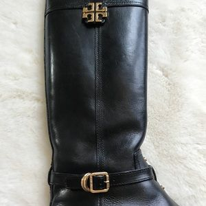 Tory Burch Shoes - 2X HP TORY BURCH ELOISE RIDING BOOT BLACK/GOLD 8